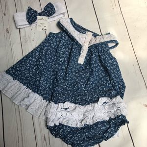 Other - Denim and White Lace Dress and Accessories